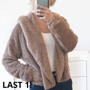 LAST 1! ST. MORITZ Brown Faux Fur Hoodie Jacket